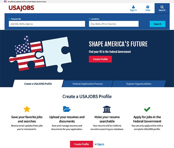 600 x 510 Screen capture of the USAJOBS homepage.