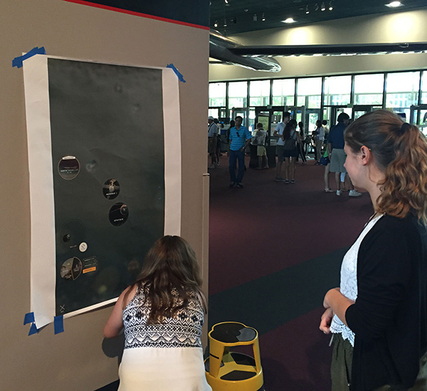 Paper prototyping and user testing for the interactive wall at Smithsonian National Air and Space Museum (NASM).