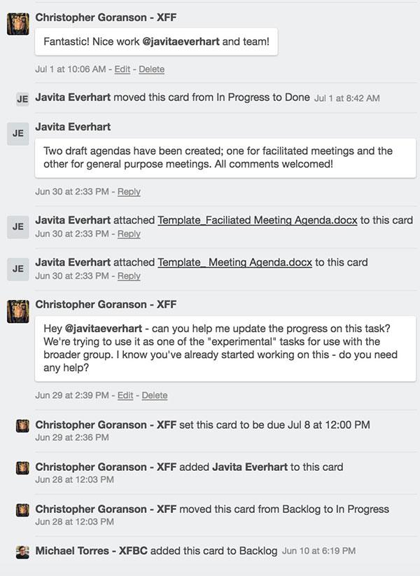 Comments on the team's Trello board.