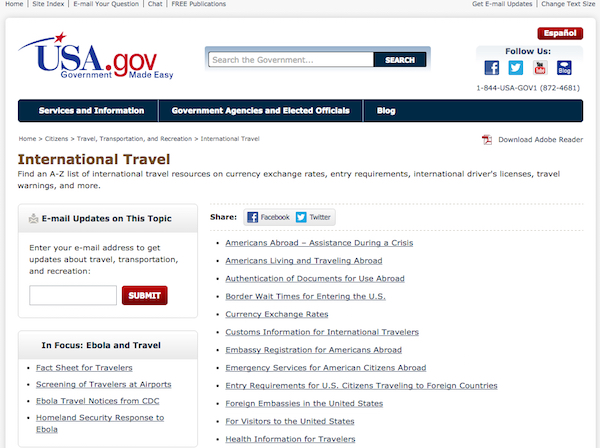 The old version of the USA.gov webpage on International Travel