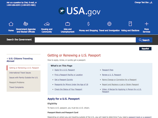 The new version of the USA.gov webpage on getting or renewing a U.S. passport