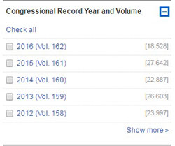 Congressional Record Year and Volume Facet.