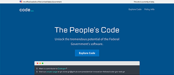 Screen capture of The People's Code website homepage.