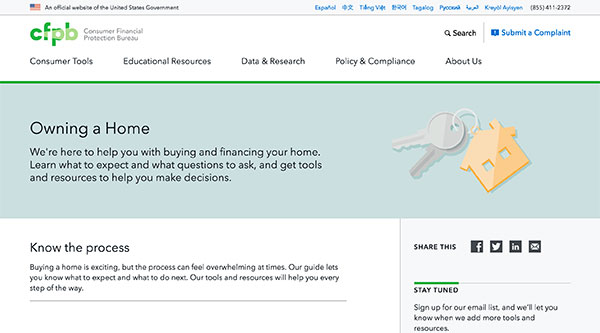 The page for Owning a Home under the Consumer Tools section of the CFPB website.