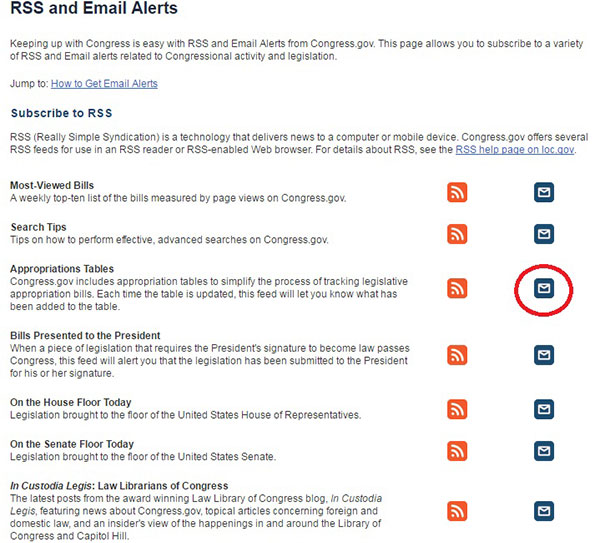 RSS and Email Alerts now with Appropriations Tables Email.