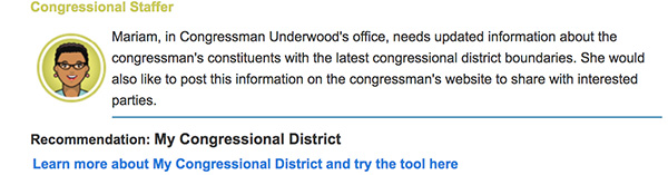 Screen cap of the Congressional staffer profile.