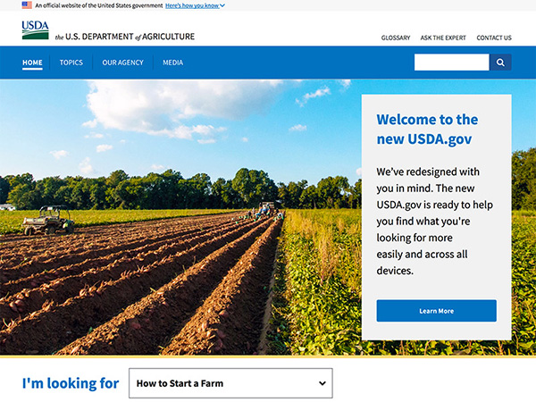 Screenshot of the new USDA.gov website.