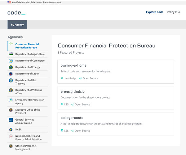 The code.gov homepage showing CFPB's open source resources.