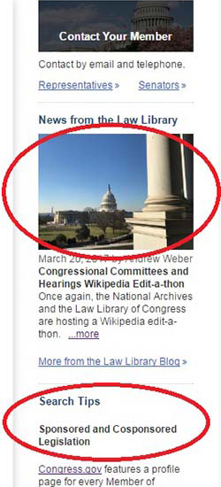 Two highlights circled in red on the Congress.gov homepage.