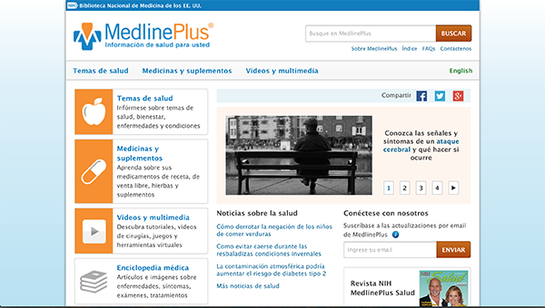 Homepage of NLM's Spanish-language MedlinePlus website.