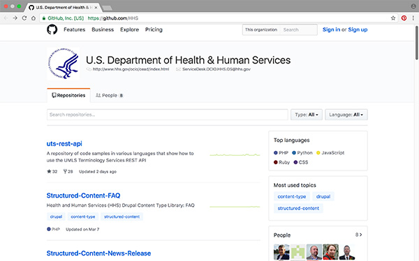 Screencapture of the GitHub page for HHS content models and Drupal features.