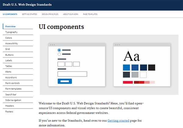 Screencapture of the UI (user interface) page on the Draft US Web Design Standards website.