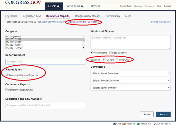 Additions for Browse Committee Publications, Report Types, and Search are circled in red on the Committee Reports page.