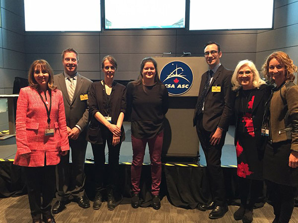 Pictured above from left to right: CSA CIO Josée Saint-Marseille, NASA Open Data Lead Jason Duley, CSA Open Data Officer Josianne Laurin, CSA Data Management Analyst Delphine Vandycke, President of MaxQ Brodie Houlette, NASA Open Innovation Manager Dr. Beth Beck and CSA Open Data Coordinator Nathalie Lévesque.