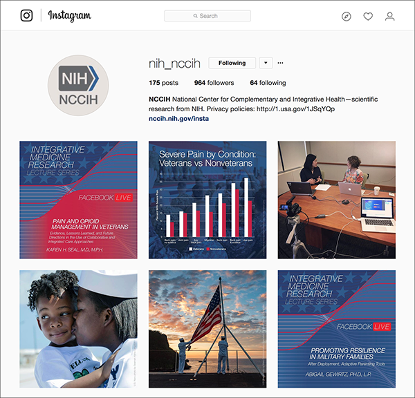 A screen capture of NCCIH Instagram page with posts depicting visual branding on Instagram for their Facebook Live event.
