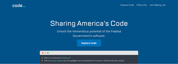 Screen capture from Code.gov homepage