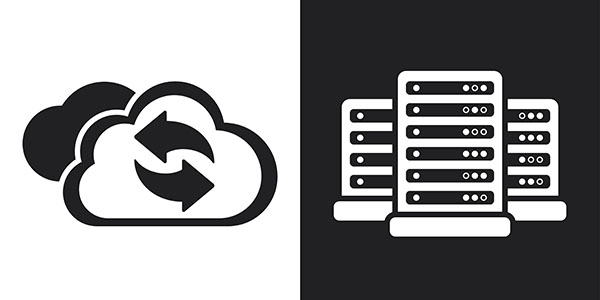 Two-tone vector cloud computing refresh icon and data center icons.