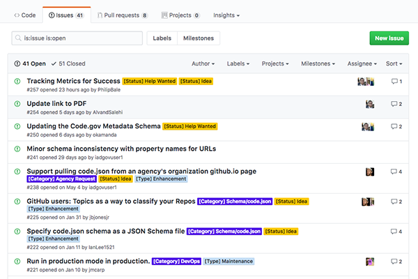 Screencapture of recent activity on the Code.gov GitHub repo.