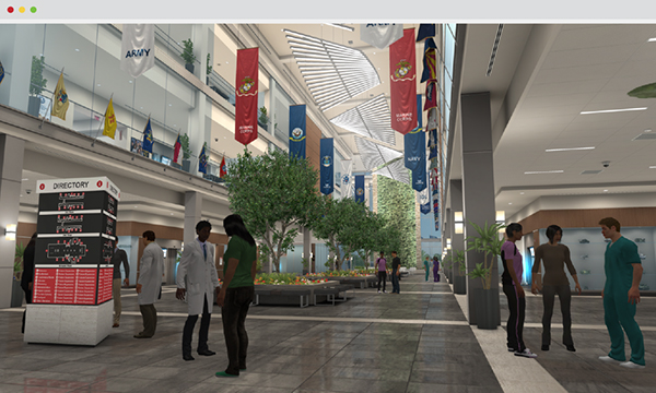 Screen capture of the Main Lobby in the Veterans Affairs (VA) Virtual Medical Center.
