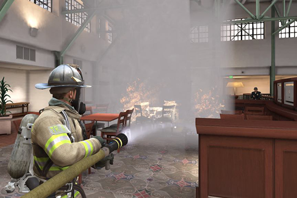 Screenshot from the game of a firefighter putting out flames in a hotel.