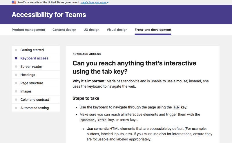 A screen capture of the keyboard access page.