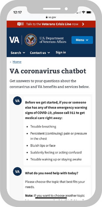 An illustrated mobile phone has the VA coronavirus chatbot webpage open. The chatbot has 2 questions populating the screen.