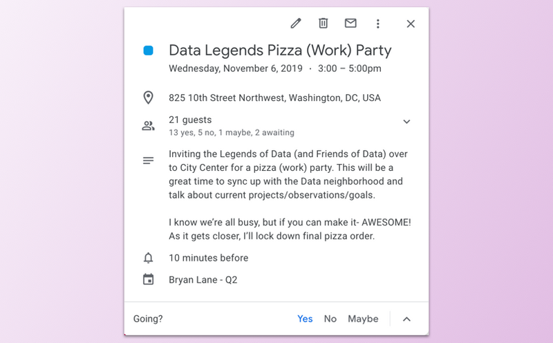 Screen capture of a calendar invite