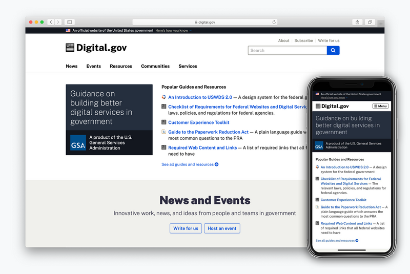 Overlapping screenshots of the new Digital.gov homepage, one on a mobile device, the other on the desktop.