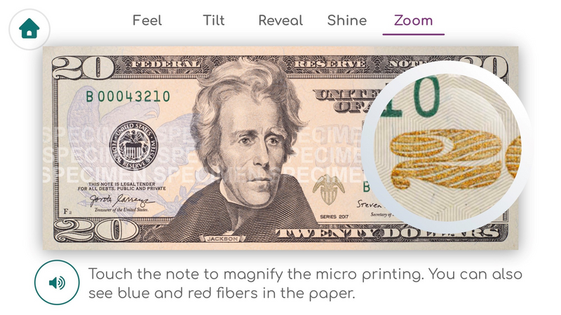 A screen capture of the zoom feature in use on the app. It shows the front of a 20 dollar bill, with a circle around a small part of the bill that shows a detailed closeup of that section.