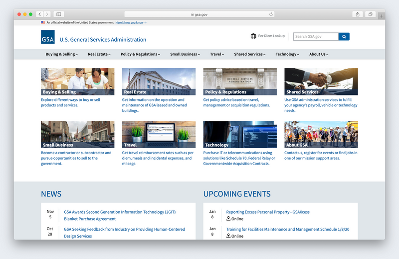 A screenshot of the new GSA.gov homepage that uses the U.S. Web Design System.