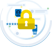 An illustration of a gold padlock is surrounded by blue privacy and security icons.