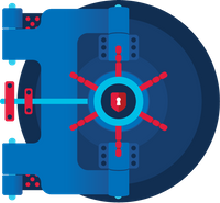 An illustration of a blue and red vault door has the red and white login.gov logo in the center.