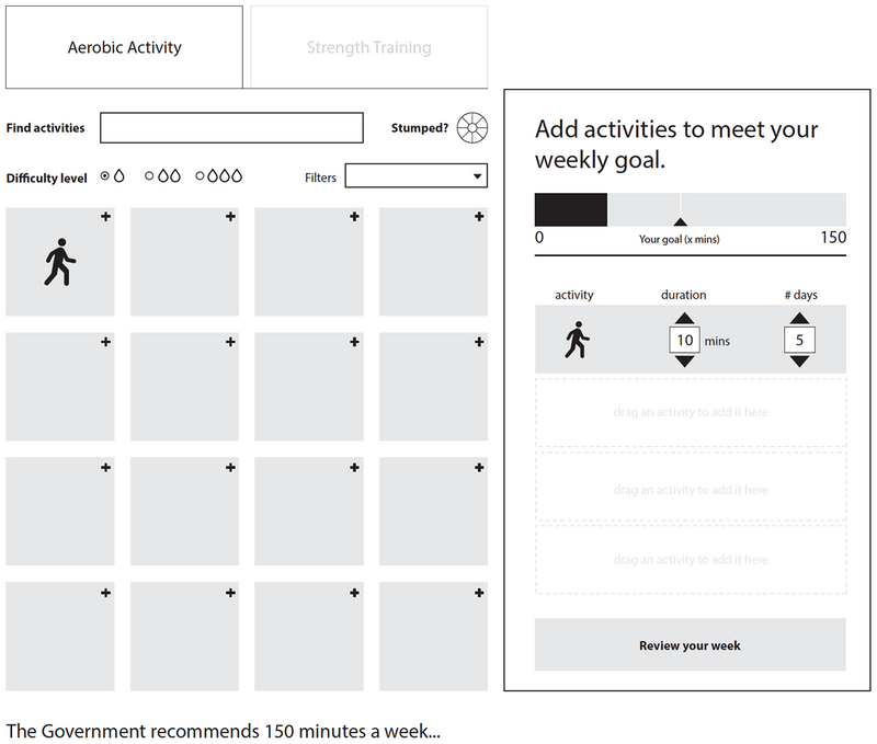 An early wireframe of the Activity Planner shows a layout of where the different elements and filters appear on the page.