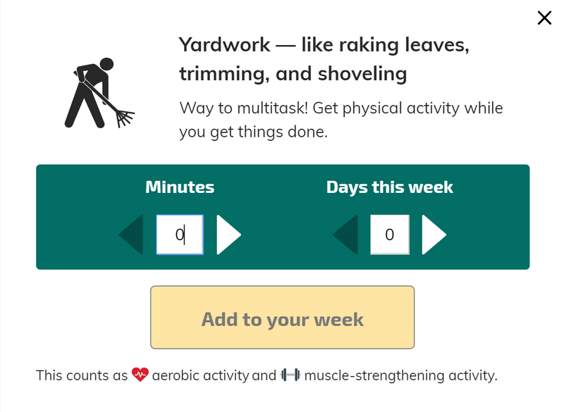 A screen capture of the Yardwork activity shows that it counts as aerobic activity and strength-training.