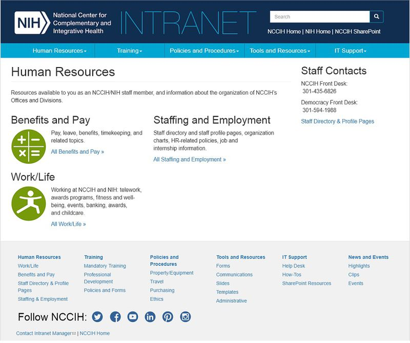 The redesigned Human Resources section.