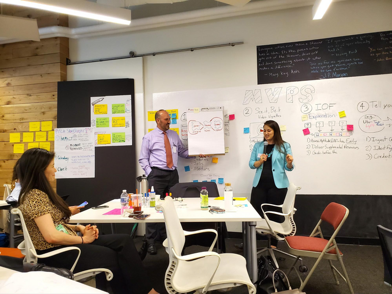 Four participants (two seated at a table, and two standing in front of a whiteboard wall) from the White House Workforce Innovation Sprint pitch concepts around the worker-learning user experience at the Lab at OPM, a human-centered workspace.