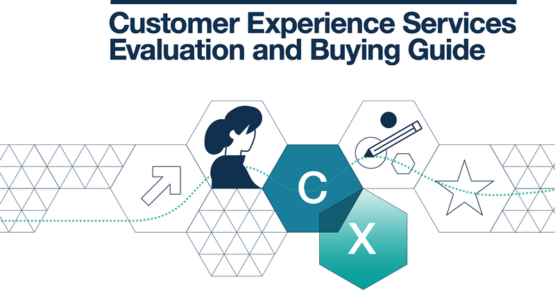 Screencapture of the cover of the Customer Experience Services Evaluationa and Buying Guide. Colorful abstract shapes, icons, and the abbreviation for Customer Experience, CX, are below the title.