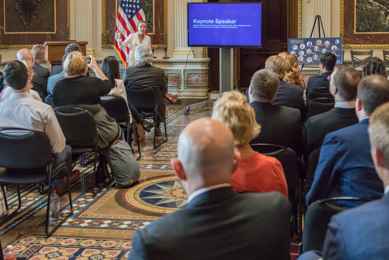 Deputy Director for Management at the Office of Management and Budget, and Acting Director at the Office of Personnel Management, Margaret Weichert, addressing Fellows at the PIF Homecoming event at the Eisenhower Executive Office Building.