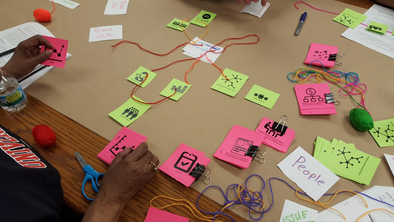 This photo is a close up of a person working in a collaboration workshop. The purpose of the workshop is to solve government problems by using human-centered design. This person is organizing and sorting information that is represented with visual graphics like a network, people, buildings, and other technological hardware on bright yellow and pink paper. The person is using colorful yarn to mark the connections and associations between the different icon parts of a complex software system.