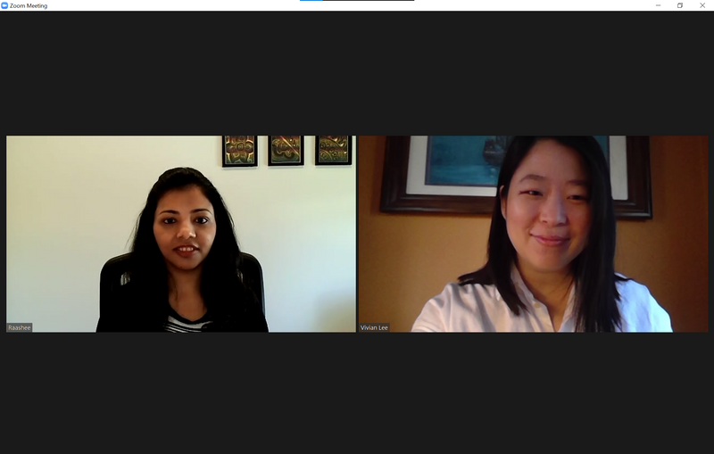 Screen capture of a video conference call between Raashee Gupta Erry (left) and Vivian Lee (right).