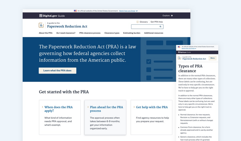overlapping screenshots of the desktop view and mobile view of the new Guide to the PRA