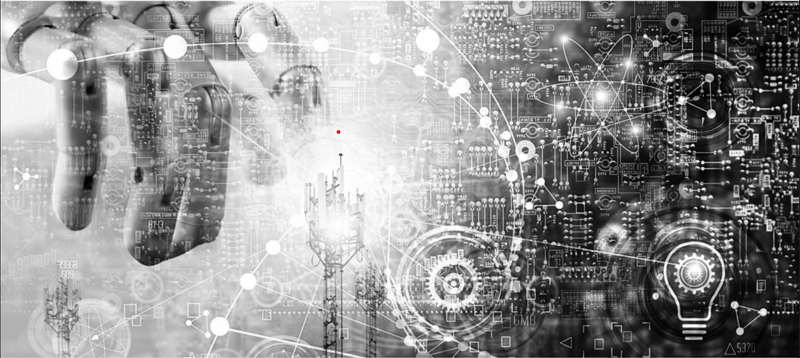 A gray and black collage from the cover of the The State of Federal Robotics Process Automation report includes technology and innovation imagery and icons, such as a robotic hand, circuit board, light bulb, gears, cell towers, and atoms.