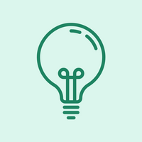 A line drawing of a lightbulb in white, on light green (mint) background