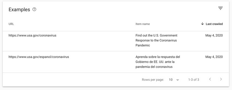 USA.gov pages with SpecialAnnouncement markup as displayed in Search Console