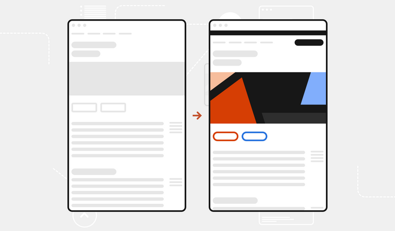 Side by side illustrations show before-and-after examples of a web page. One has the original page and the other shows that page with just a few design system components added