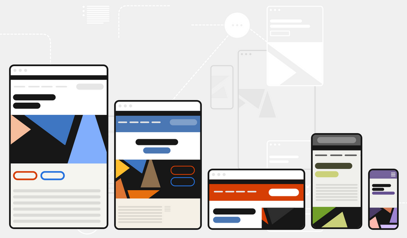 An illustration shows five images of websites at different screen sizes, ranging from small to large — each with a different look and feel.