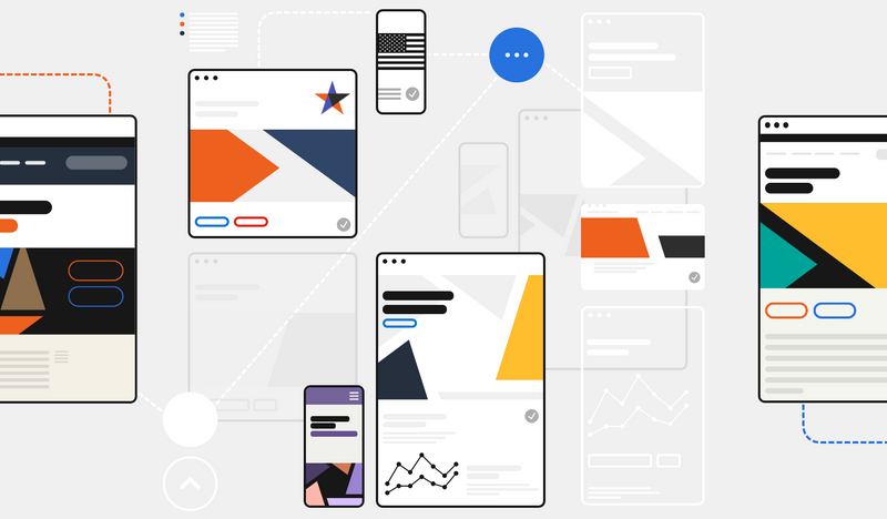 A colorful collection of screens and interface components