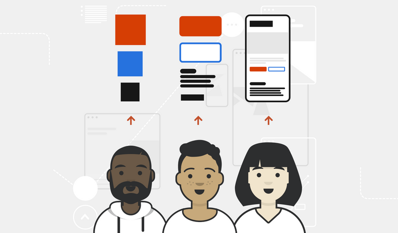 An illustration of three designers and developers using design tokens to communicate their intention. They move from themes to components to a finished website.