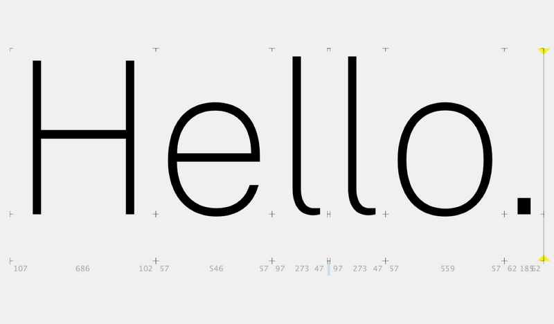 The word Hello displayed in Public Sans as though being edited in a font editor.