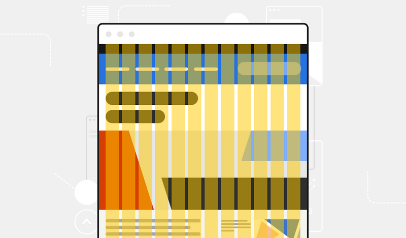 An illustration shows a yellow 12-column grid system overlaid on a colorful website.
